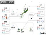 2018年11月28日の沖縄県の実況天気