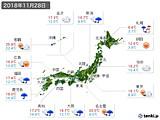 実況天気(2018年11月28日)
