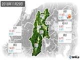 2018年11月29日の長野県の実況天気