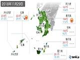 2018年11月29日の鹿児島県の実況天気