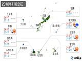 2018年11月29日の沖縄県の実況天気