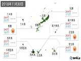 2018年11月30日の沖縄県の実況天気