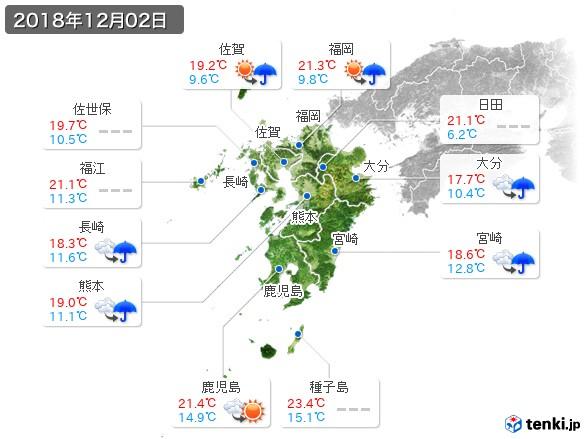 九州地方(2018年12月02日の天気