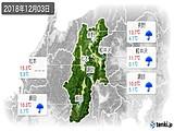 2018年12月03日の長野県の実況天気
