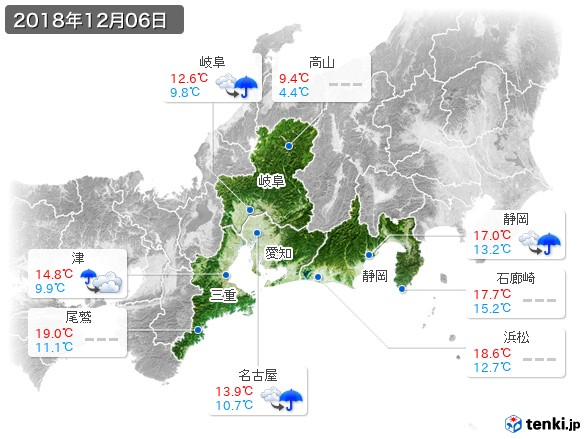 東海地方(2018年12月06日の天気