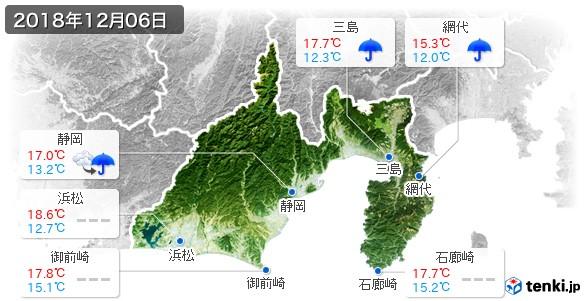 静岡県(2018年12月06日の天気