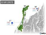 2018年12月07日の石川県の実況天気