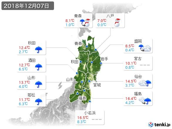 東北地方(2018年12月07日の天気
