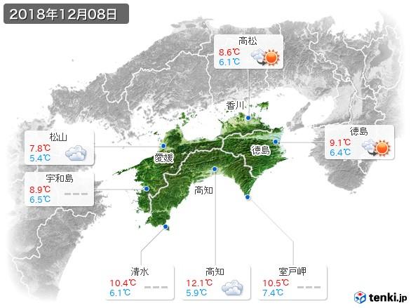 四国地方(2018年12月08日の天気