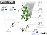 2018年12月09日の鹿児島県の実況天気