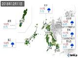 2018年12月11日の長崎県の実況天気