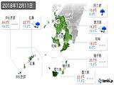 2018年12月11日の鹿児島県の実況天気