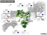 2018年12月12日の近畿地方の実況天気