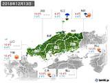 2018年12月13日の中国地方の実況天気