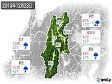 2018年12月23日の長野県の実況天気