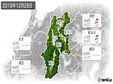 2018年12月28日の長野県の実況天気
