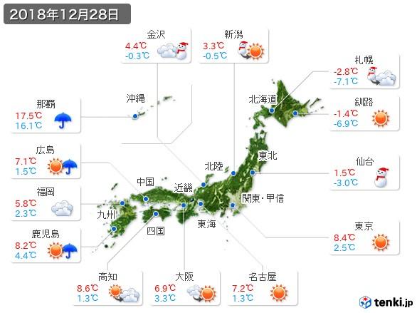 過去の天気(実況天気・2018年12月28日) - 日本気象協会 tenki.jp