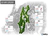 2018年12月29日の長野県の実況天気