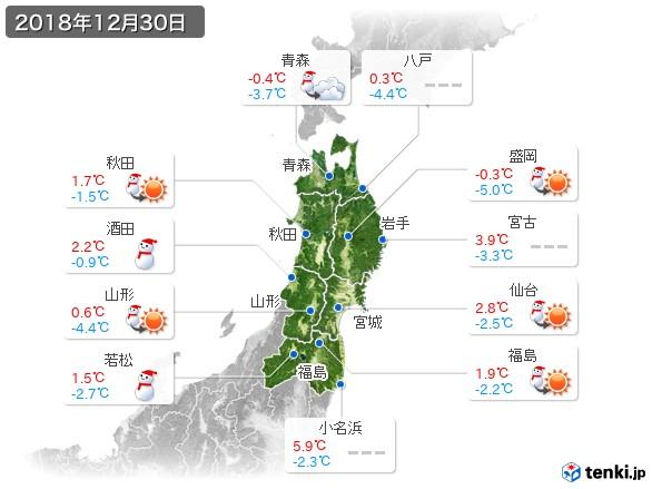 東北地方(2018年12月30日の天気