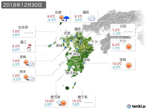 九州地方(2018年12月30日の天気