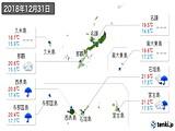 2018年12月31日の沖縄県の実況天気