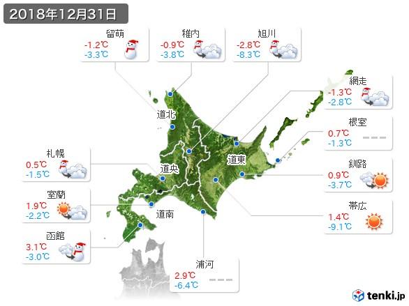 北海道地方(2018年12月31日の天気