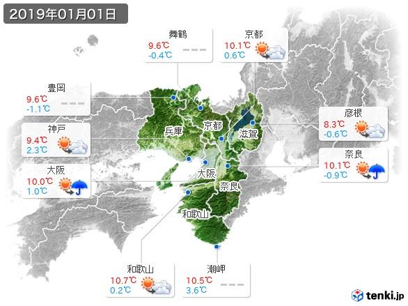 近畿地方(2019年01月01日の天気