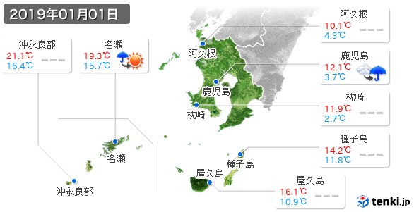 鹿児島県(2019年01月01日の天気