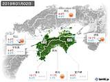 2019年01月02日の四国地方の実況天気