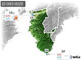 2019年01月02日の和歌山県の実況天気