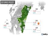 2019年01月02日の宮崎県の実況天気