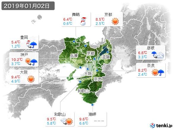 近畿地方(2019年01月02日の天気