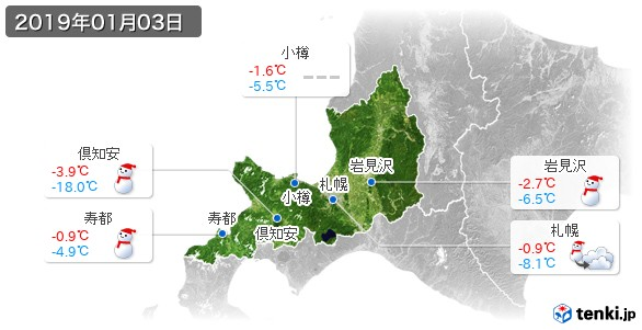 道央(2019年01月03日の天気