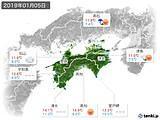 2019年01月05日の四国地方の実況天気