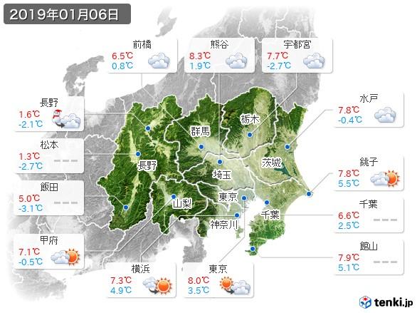 関東・甲信地方(2019年01月06日の天気