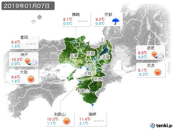 近畿地方(2019年01月07日の天気