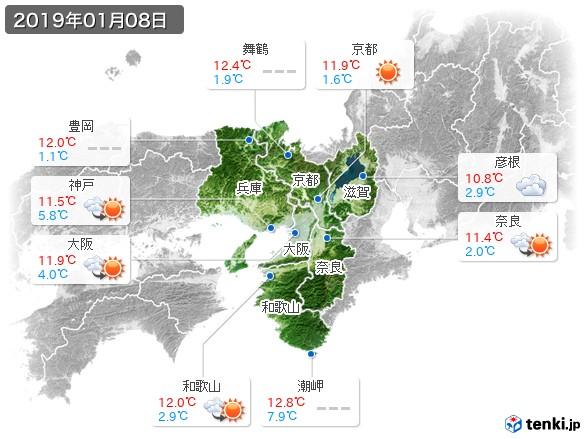 近畿地方(2019年01月08日の天気