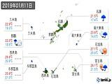 2019年01月11日の沖縄県の実況天気