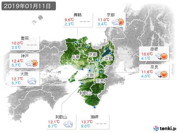 近畿地方(2019年01月11日の天気