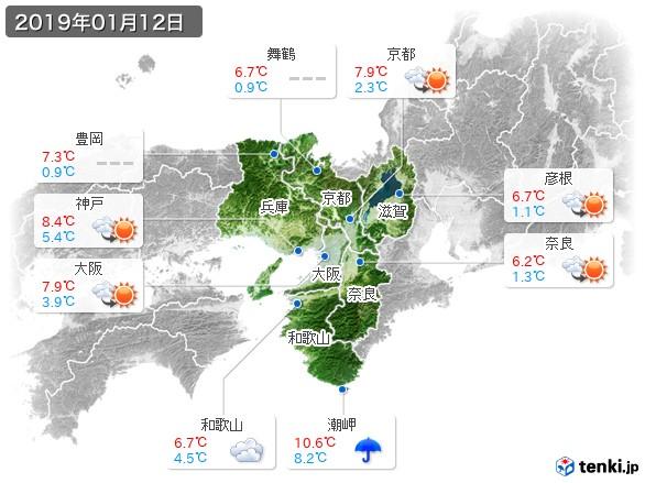 近畿地方(2019年01月12日の天気