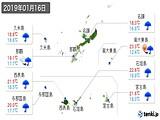 2019年01月16日の沖縄県の実況天気