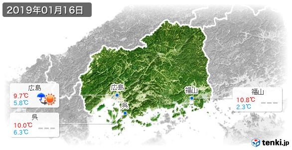 広島県(2019年01月16日の天気