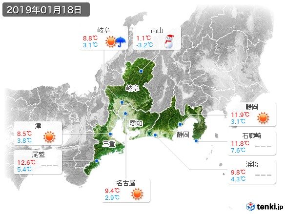 東海地方(2019年01月18日の天気