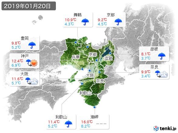 近畿地方(2019年01月20日の天気