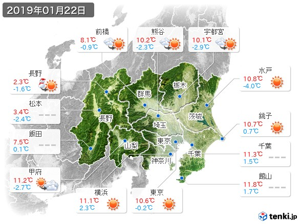 関東・甲信地方(2019年01月22日の天気