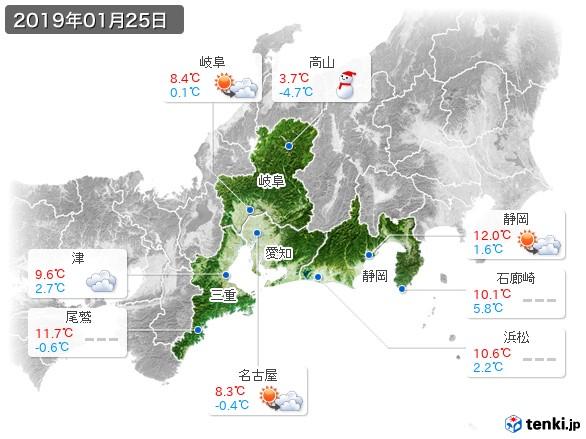 東海地方(2019年01月25日の天気