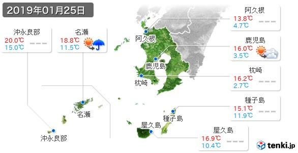鹿児島県(2019年01月25日の天気