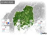 2019年01月28日の広島県の実況天気