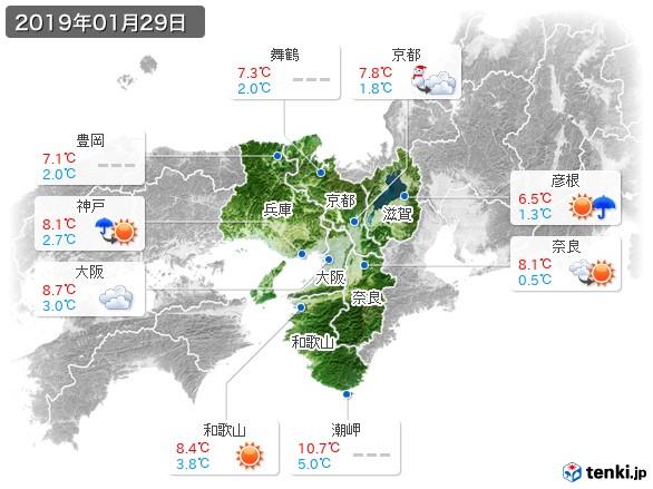 近畿地方(2019年01月29日の天気