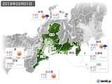 2019年02月01日の東海地方の実況天気